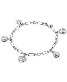 Sterling Silver Crystal Charm Bracelet