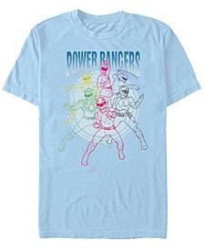 Men's Power Rangers Line Art Short Sleeve Crew T-shirt