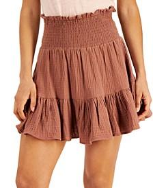 Juniors' Cotton Smocked Mini Skirt