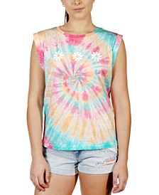 Juniors' Rolled-Sleeve Graphic Tie-Dyed T-Shirt