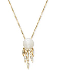 "Cultured Freshwater Pearl (8-1/2mm) & Diamond Accent 18"" Pendant Necklace in 14k Gold"