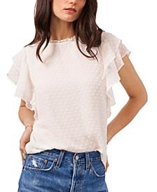 Textured Flutter-Sleeve Top