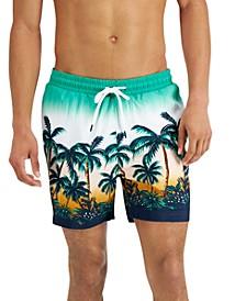 "INC Men's Regular-Fit Quick-Dry Sunset Palm Tree-Print 5"" Swim Trunks, Created for Macy's"