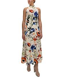 High-Neck Printed Maxi Dress