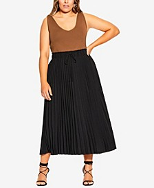 Plus Size Simple Pleat Skirt