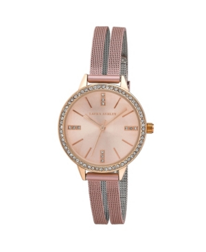 Women's Sunray Dial Crystal Pink Alloy Split Mesh Band Watch 33mm