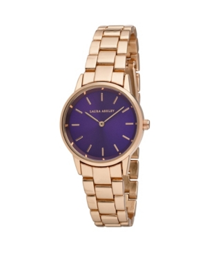Women's Sunray Dial Rose Gold-Tone Alloy Matte and Shiny Link Bracelet Watch 32mm