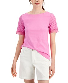 Petite Eyelet-Sleeve Top, Created for Macy's