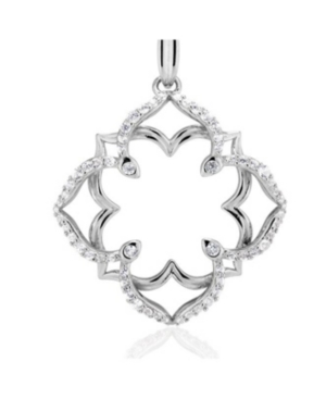 Lotus White Topaz Sterling Silver Large Pendant in Fine Yellow Gold Plate