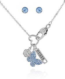 Silver-tone And Light Sapphire Pave Butterfly, Flower, And Logo Tag Neck With Fancy Lobster Clasp And Stud Set