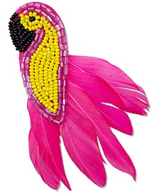 INC Gold-Tone Colored Seed Bead & Feather Bird Hair Clip, Created for Macy's