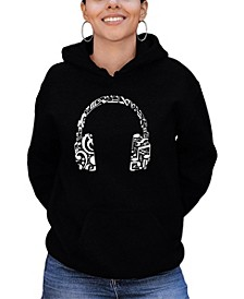Women's Word Art Music Note Headphones Hooded Sweatshirt