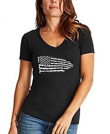 Women's Word Art Pledge of Allegiance Flag V-Neck T-Shirt