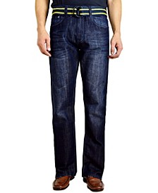 Men's Bootcut Leg Belted Jeans