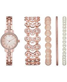 Women's Rose Gold-Tone Bracelet Watch 28mm Gift Set