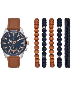 Men's Brown Strap Watch 46mm Gift Set