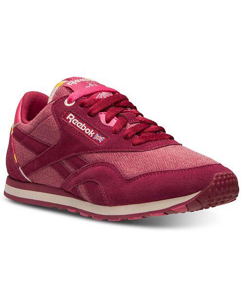 d94bc8b05c2 ... Reebok Women s Classic Nylon Slim Jacquard Casual Sneakers from Finish  ...
