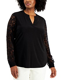 Plus Size Lace-Sleeve Top