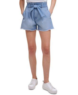 High-Rise Paperbag-Waist Jean Shorts