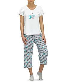Stay Hopeful Butterfly Capri Pajama Pants Set