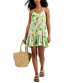 Juniors' Printed Dropped-Waist Cover-Up Dress, Created for Macy's