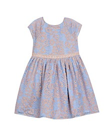 Little Girls 2 Tone All Over Lace Dress