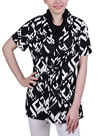 Petite Printed Adjustable Face-Covering Top
