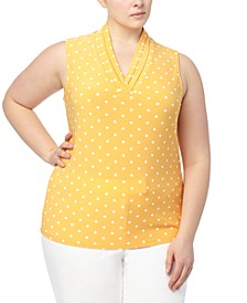 Plus Size Printed Pleated-Neck Top