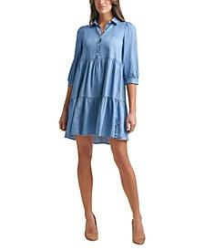 Roll-Tab Chambray Shirtdress