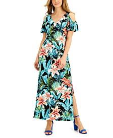 Petite Printed Cold-Shoulder Maxi Dress