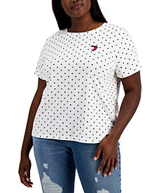 Plus Size Embroidered Heart Logo T-Shirt