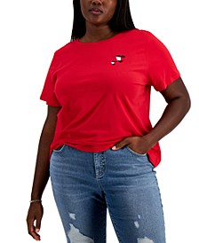 Plus Size Embroidered Double Heart T-Shirt