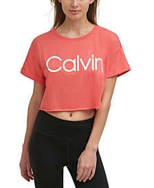 Women's Cropped Raw Hem Logo T-Shirt