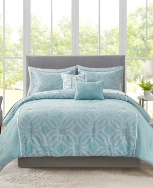Addison Park Closeout!  Trent 9-pc. Geo Jacquard California King Comforter Set Bedding In Mineral