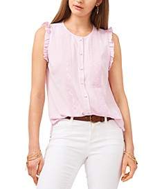 Embroidered Sleeveless Button-Front Top