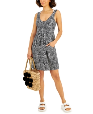 Printed Deep Pocket Dress Cover-Up Women's Swimsuit