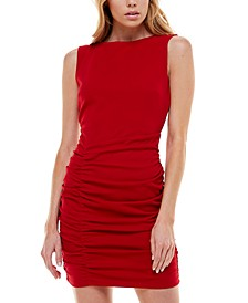 Juniors' Ruched Open-Back Bodycon Dress