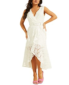 Randa Belted High-Low Lace Dress