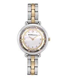 Women's 2 Hands Slim Two Tone Stainless Steel Band Watch 34mm
