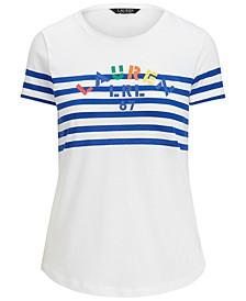 Striped Cotton-Blend Logo T-Shirt