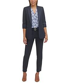 Roll-Tab-Sleeve Jacket, Abstract-Print Sleeveless Top & Belted Slim-Leg Pants