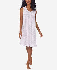 Printed Ruffled Pointelle Nightgown