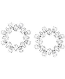 Silver-Tone Crystal Circle Stud Earrings