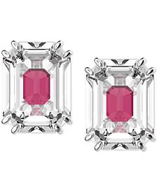 Silver-Tone Crystal Oversized Stud Earrings