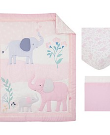 Sweet Floral Elephants 3 Piece Crib Bedding Set