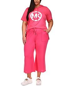 Plus Size Short-Sleeve Hoodie & Kick-Flare Sweatpants