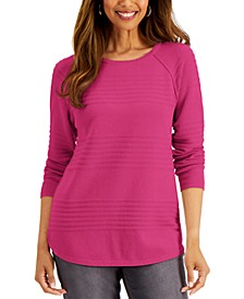 Petite Textured Curved-Hem Cotton Sweater, Created for Macy's