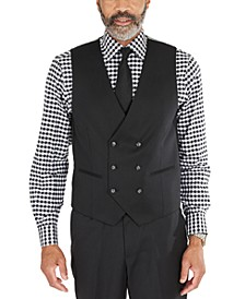 Men's Classic-Fit Solid Black Suit Separates Double-Breasted Vest