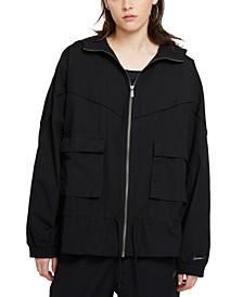 Plus Size Cotton Drawstring-Waist Utility Jacket