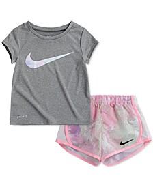 Baby Girls 2-Pc. Dri-FIT Swoosh T-Shirt & Tie-Dye Shorts Set